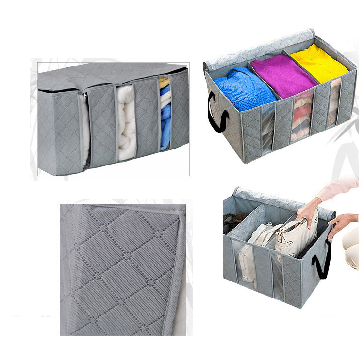 EFTSBY619 65L Large Capacity  Portable Clothes Quilts Folding Organizer Charcoal Fiber  Storage Bag