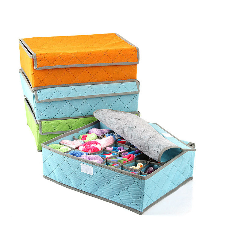 EFTSBY616 Non Woven Bamboo Charcoal Fibre Storage Boxes 4x6 Cell Collapsible Closet Organisers Drawer Dividers for Bra Underwear