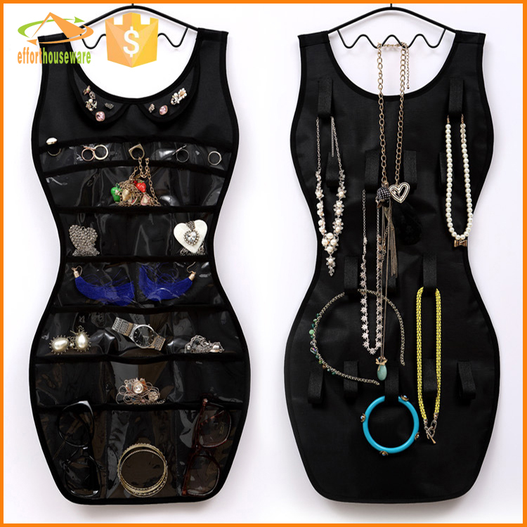 EFTSBY491A  Dress shape Fabric hanging storage jewelry organizer