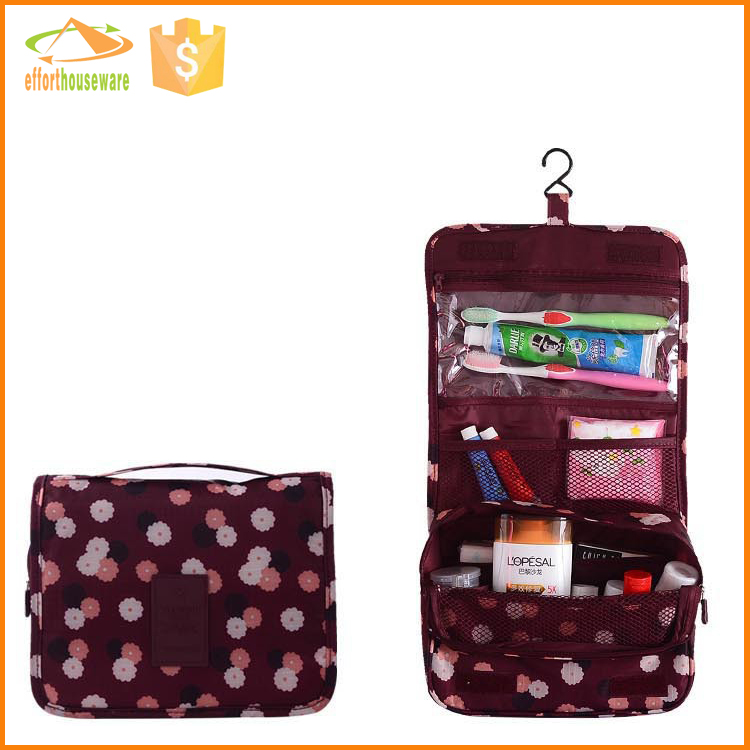 EFTSBY493F foldable promotional polyester hanging cosmetic bag