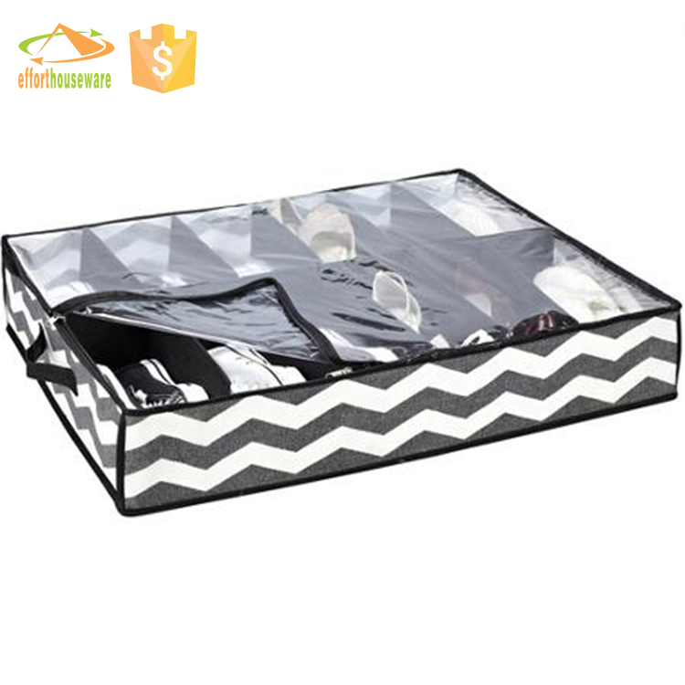 EFTSBY408 nonwoven Underbed Shoe Storage Bag clear window 12 pockets
