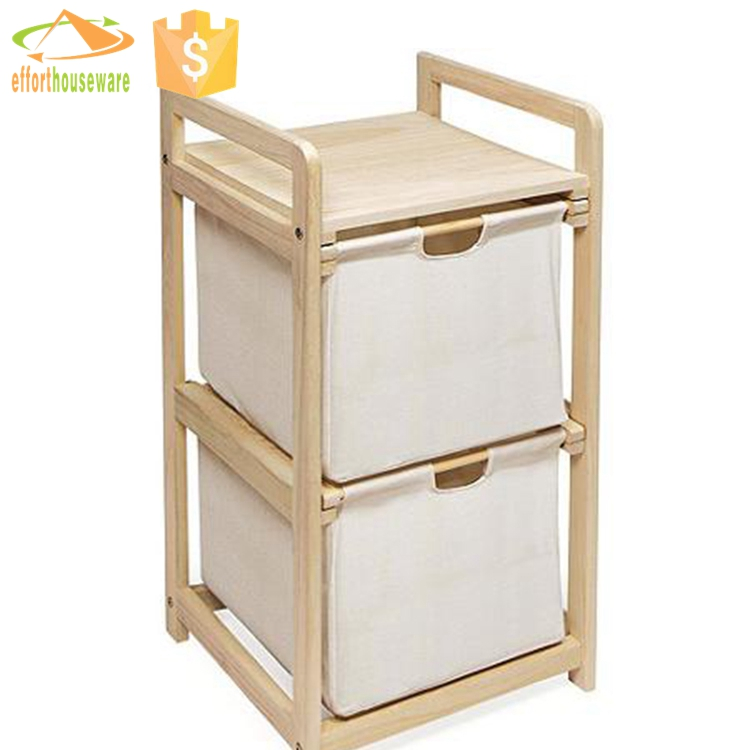 EFTSBY283 Rectangular Canvas Laundry Baskets Hampers With Two Wooden Handles