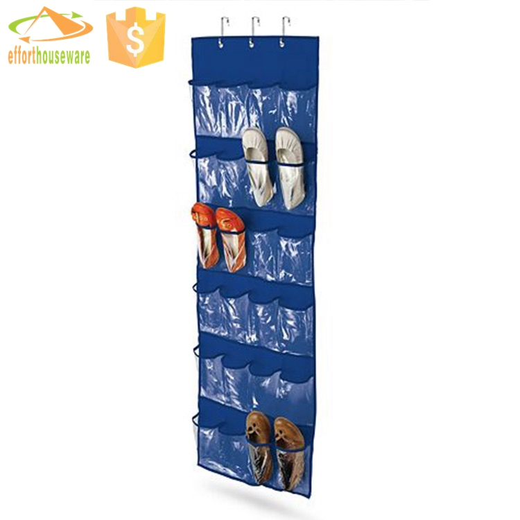 EFTSBY163 Blue color with transparent pockets sliding over door hanger