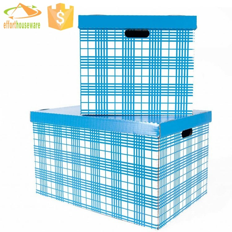 EFTSBY037 Grid printed Decorative Cardboard with lid storage boxes